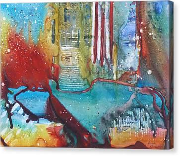 Atlantis Crashing Into The Sea Canvas Print by Ruth Kamenev