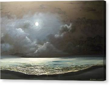 Canvas Print featuring the painting Atlantis Moon by Ken Ahlering