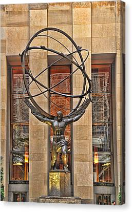Atlas Bronze Statue At Rockefeller Center Canvas Print