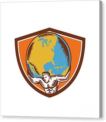 Atlas Carrying Globe Crest Woodcut Canvas Print by Aloysius Patrimonio