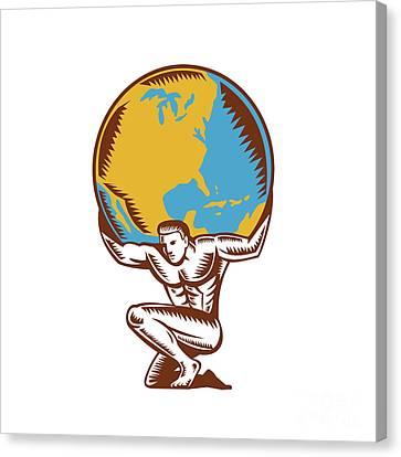 Atlas Lifting Globe Kneeling Woodcut Canvas Print