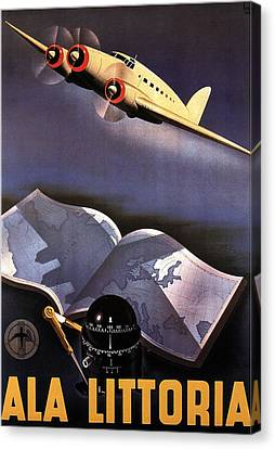 Vintage Airplane Canvas Print - Atlas, Map And Compass - Vintage Propeller Aircraft - Ala Littoria - Vintage Travel Poster by Studio Grafiikka