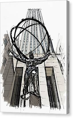 Atlas Sculpture Sketch In New York City Canvas Print by Pablo Franchi