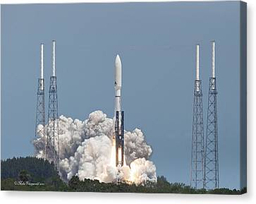Atlas V Launch Canvas Print by Mike Fitzgerald