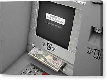 Terminal Canvas Print - Atm Cardless Cash Withdrawal by Allan Swart