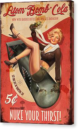 Canvas Print featuring the digital art Atom Bomb Cola by Steve Goad