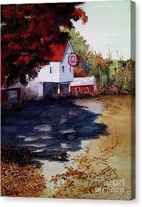 Atomic Gas Station Canvas Print by Nancie Johnson