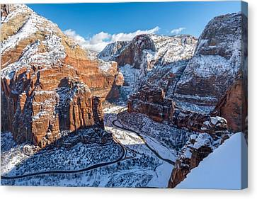 Atop Angels Landing In Winter Canvas Print by James Udall