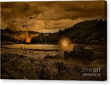 Attack At Nightfall Canvas Print by Amanda Elwell