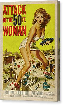 Attack Of The 50 Ft Woman Vintage Movie Poster Canvas Print by Design Turnpike