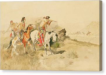 Attack On The Muleteers Canvas Print by Charles Marion Russell