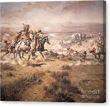 Attack On The Wagon Train Canvas Print by Charles Marion Russell