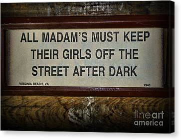 Law Enforcement Canvas Print - Attention All Madams by Paul Ward