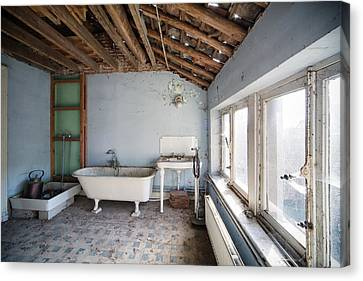 Haunted House Canvas Print - Attic Bathroom - Urban Exploration by Dirk Ercken