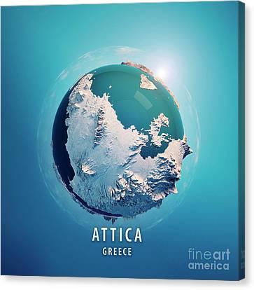 Attica Greece 3d Little Planet 360-degree Sphere Panorama Blue Canvas Print