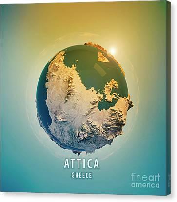 Attica Greece 3d Little Planet 360-degree Sphere Panorama Canvas Print by Frank Ramspott