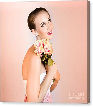 Attractive Brunette Dreams Of Romance Canvas Print by Jorgo Photography - Wall Art Gallery