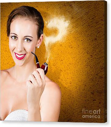 Attractive Lady Pondering Solutions With Pipe Canvas Print by Jorgo Photography - Wall Art Gallery