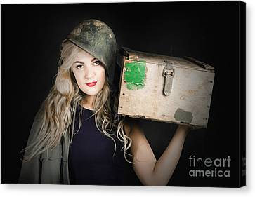 Hairstyle Canvas Print - Attractive Pinup Girl. Blond Bombshell by Jorgo Photography - Wall Art Gallery