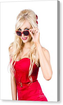 Attractive Young Blonde Woman In Cool Eyewear Canvas Print by Jorgo Photography - Wall Art Gallery