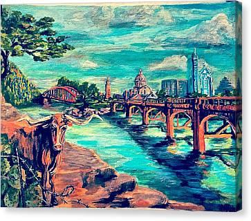 Atx - Iconic Austin Canvas Print by DaiZatx Daisy Undercuffler
