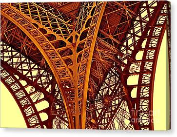 Canvas Print featuring the photograph Au Pied De La Tour Eiffel by Danica Radman