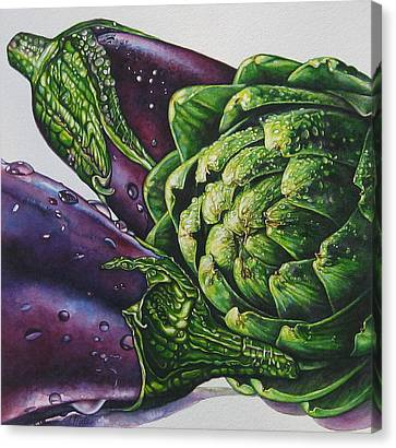 Aubergines And An Artichoke Canvas Print by Tracy Male