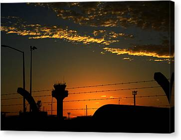 Auckland Airport Sunrise Canvas Print by Chris Hung