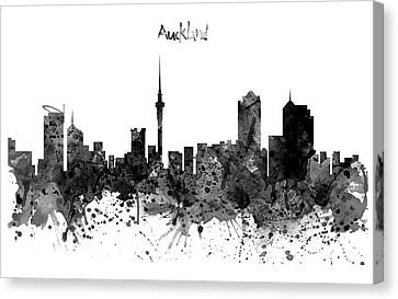 Auckland Canvas Print - Auckland Black And White Watercolor Skyline by Marian Voicu