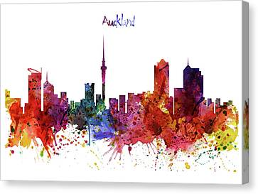 Modern Digital Art Canvas Print - Auckland Watercolor Skyline by Marian Voicu