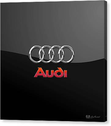 Audi 3 D Badge On Black Canvas Print by Serge Averbukh