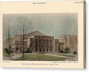 Auditorium Of Evanston High School. Evanston Illinois 1930 Canvas Print by Hamilton and Fellows and Nedved