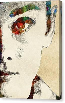 Audrey Half Face Portrait Canvas Print