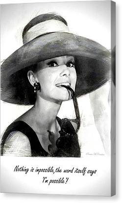 Canvas Print featuring the digital art Audrey Hepburn 2 by Pennie McCracken