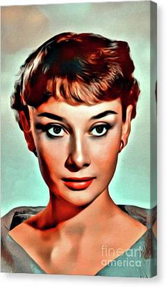 Audrey Hepburn, Digital Art By Mary Bassett Canvas Print