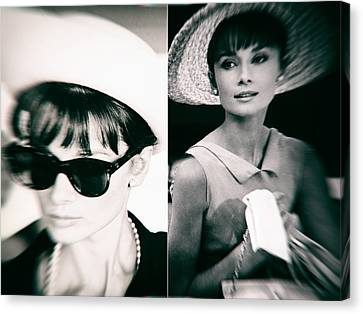 Audrey Hepburn In Black And White Canvas Print by Georgia Fowler