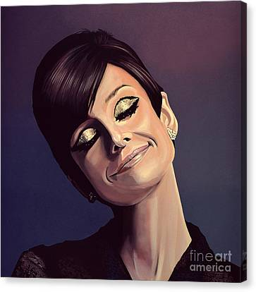 Audrey Hepburn Painting Canvas Print by Paul Meijering