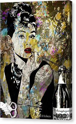Audrey Hepburn Tribute  Canvas Print by Angela Holmes