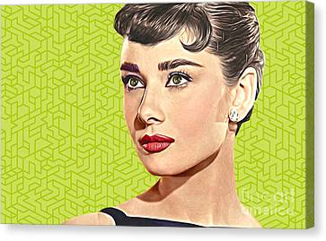 Audrey Hepburn_popart06-3 Canvas Print by Bobbi Freelance