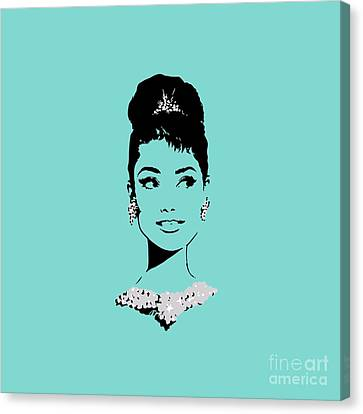 1960 Movies Canvas Print - Audrey In Tiffany Blue by Rene Flores