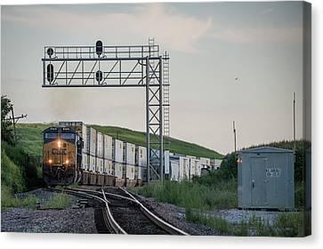 Csx Train Canvas Print - August 22 2016 Csx Q028 Northbound At Carlisle Indiana by Jim Pearson