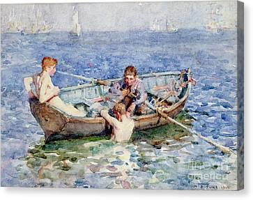 Dinghies Canvas Print - August Blue by Henry Scott Tuke