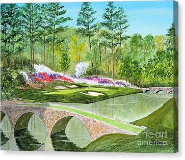 Canvas Print featuring the painting Augusta National Golf Course 12th Hole by Bill Holkham