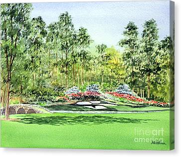 Canvas Print featuring the painting Augusta National Golf Course by Bill Holkham