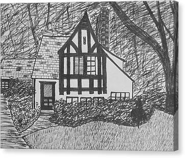 Canvas Print featuring the drawing Aunt Vizy's House by Lenore Senior