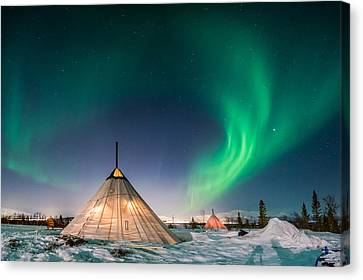 Aurora Above Sami Tent Canvas Print