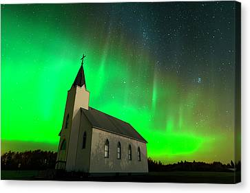 Aurora And Country Church Canvas Print