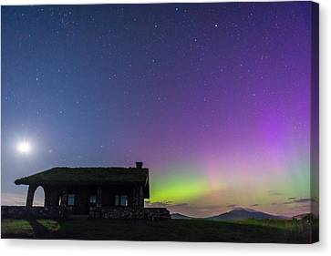 Aurora And Moon From Beech Hill Canvas Print