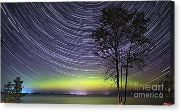 Aurora And Star Trails Over Lake Simcoe Canvas Print