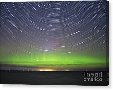 Aurora And Startrails Canvas Print